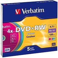 Verbatim DVD+RW 4x, COLOURS 5ks v SLIM krabičce